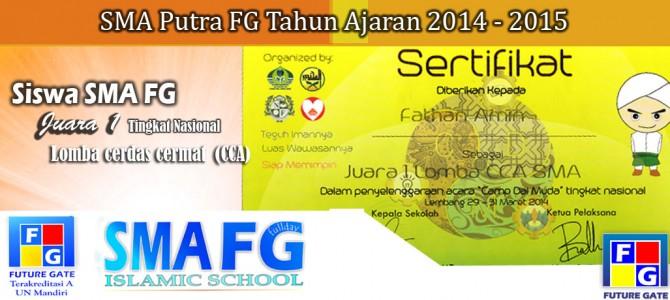 Siswa SMA FG Juara Satu Cerdas Cermat